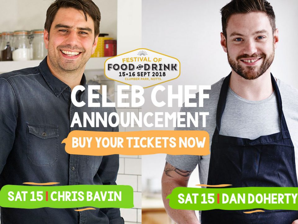 The Festival of Food & Drink 2018, TV Chefs Chris Bavin and Dan Doherty, National Trust's Clumber Park, Nottingham